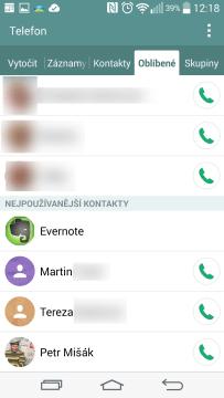 Oblíbené a nejpoužívanější kontakty