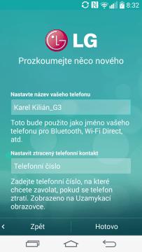 Úvodní nastavení - název telefonu a telefonní číslo