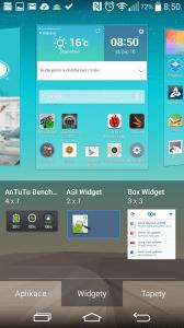 Výběr widgetu na plochu