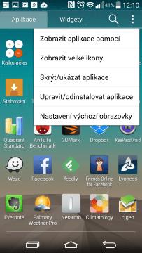 Seznam aplikací - možnosti