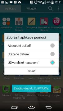 Seznam aplikací - způsob řazení