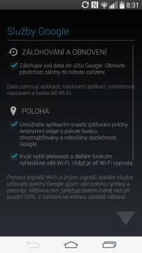 Úvodní nastavení - služby Google