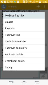 SMS zprávy - možnosti zprávy