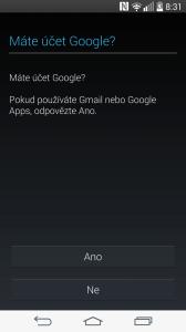 Úvodní nastavení - nastavení účtu Google