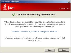 Probíhající instalace Javy