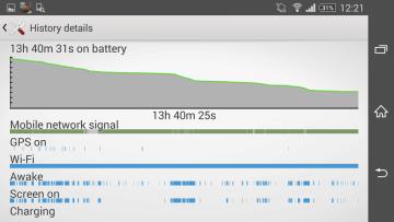 Sony Xperia Z2 střední zátěž baterie 1