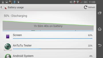 Sony Xperia Z2 vysoká zátěž baterie 1