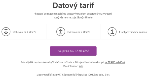 Vodafone Turbo Internet doma i na chalupě