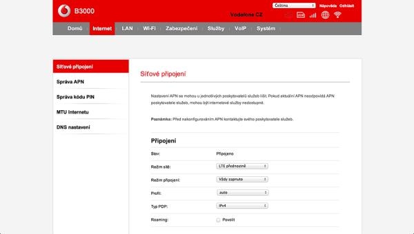 Vodafone Turbo Internet nastavení modemu 4