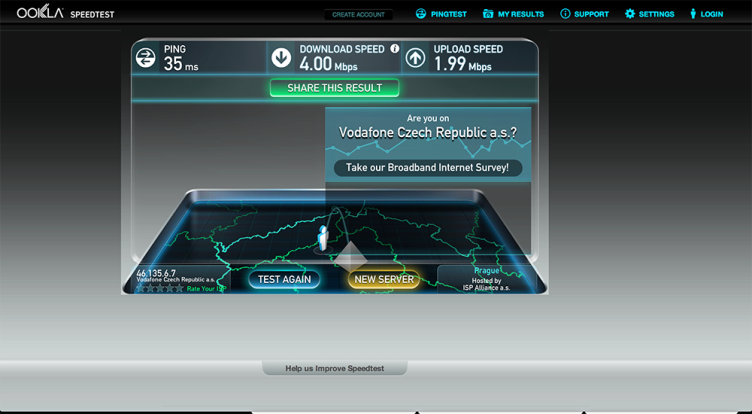 Vodafone Turbo Internet test rychlsoti 1