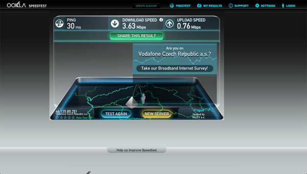 Vodafone Turbo Internet test rychlsoti 2