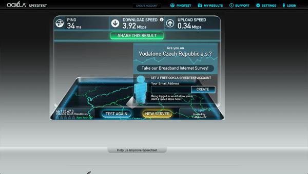 Vodafone Turbo Internet test rychlsoti 5