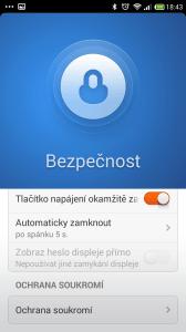 Xiaomi Redmi Note - aplikace bezpečnost