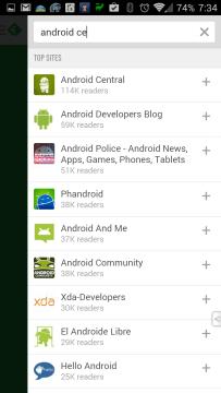 Přidání webu Android Central