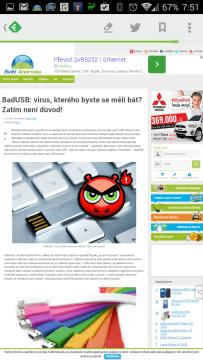 Otevření článku v integrovaném prohlížeči
