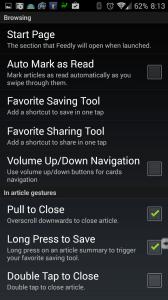 Možnosti nastavení aplikace Feedly