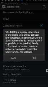 Na nebezpečí instalace aplikací z neznámých zdrojů upozorňuje i systém