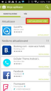 Aplikace aktualizujte výhradně přes Obchod Play