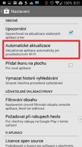 V nastavení Obchodu Play zapněte automatické aktualizace