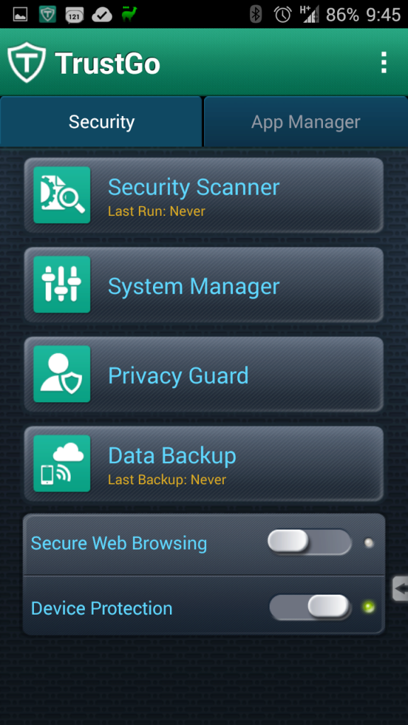 Prostředí aplikace TrustGo Antivirus & Mobile Security