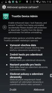 Nastavení aplikace jako správce zařízení