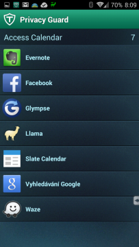 Aplikace s přístupem ke kalendáři