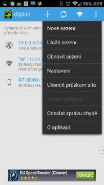 Kontextová nabídka aplikace