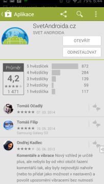 Původní vzhled aplikace Obchod Play