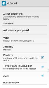 Možnosti nastavení aplikace YoWindow