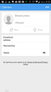 Registrace nového uživatele