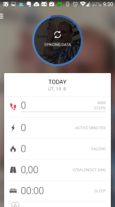 Prostředí aplikace - probíhá synchronizace