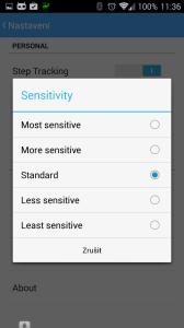 Nastavení citlivosti senzorů