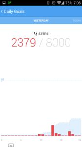 Počet ušlých kroků včera