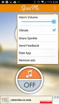 Kontextová nabídka aplikace SpinMe