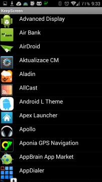 Seznam aplikací v telefonu či tabletu