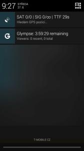 Glympse v oznamovací oblasti