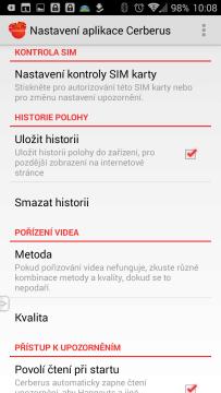 Cerberus proti krádeži: prostředí aplikace