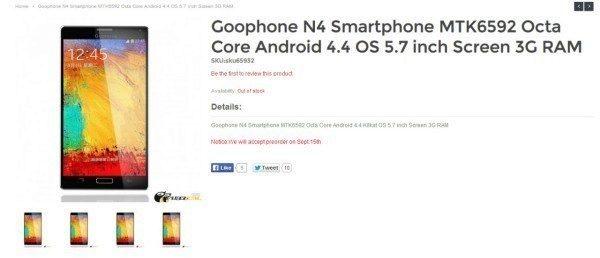 Jen krátce poté, co byly zveřejněny první údajné snímky připravovaného Samsungu Galaxy Note 4, se na Internetu objevila stránka s telefonem Goophone N4.