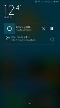 Aplikace Darker notifikační lišta