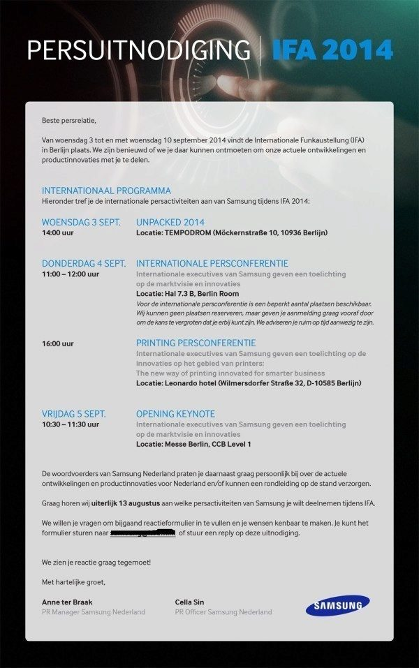 Pozvánka na akci Samsung Unpacked 2014