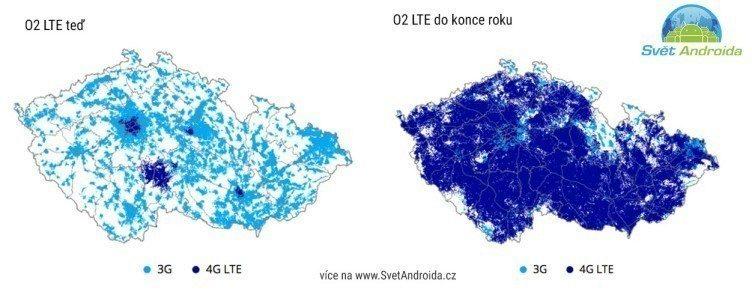 Mapa pokrytí LTE O2 budoucnost