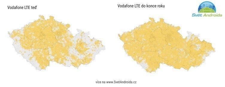 Mapa pokrytí LTE Vodafone budoucnost