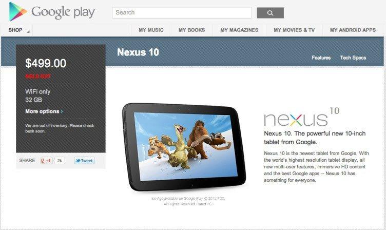 Nexus 10 je vyprodán déle než rok