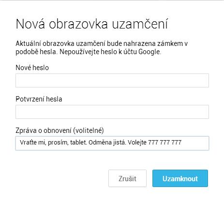 V případě, že zařízení nemá možnost vytáčet telefonní čísla, je nabízena pouze možnost odeslat na jeho obrazovku určený text