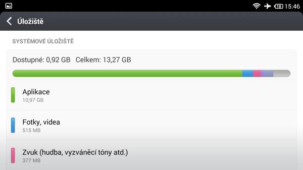 Pro naše data je připraveno přibližně 12 GB místa