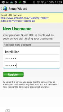 Zadání uživatelského jména a hesla