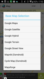 Výběr mapových podkladů