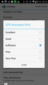 Nastavení přesnosti GPS