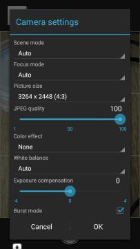Možnosti nastavení fotoaparátu