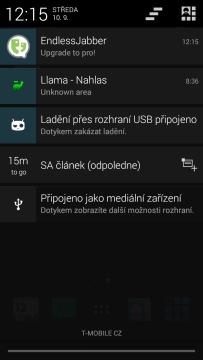Upozornění v notifikační liště